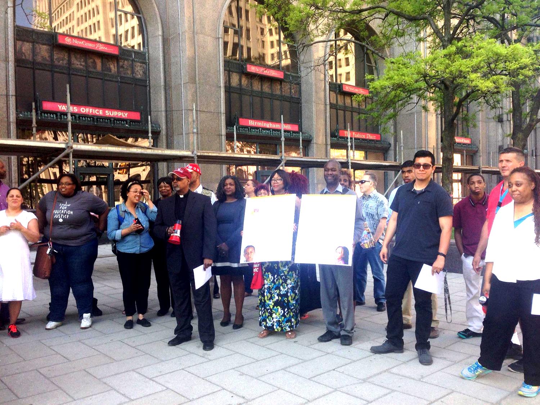 Photo: Educators, parents and activists deliver the community platform.